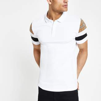 River Island Mens White slim fit check sleeve polo shirt