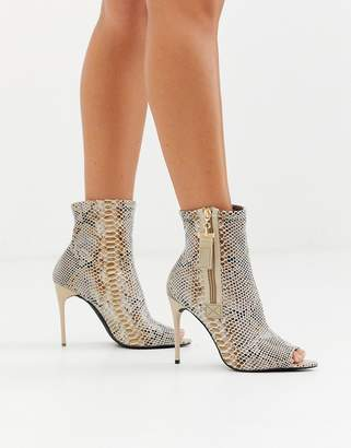 Truffle Collection peep toe stiletto boot in snake