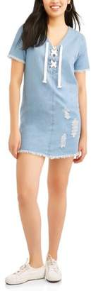 Derek Heart Juniors' Short Sleeve Distressed Denim Lace-Up Dress