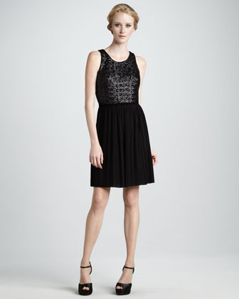 Laundry by Shelli Segal Pleated Combo Dress
