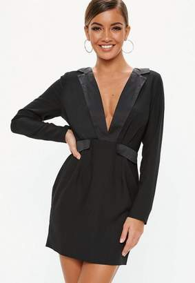 Missguided Black Satin Plunge Shift Dress
