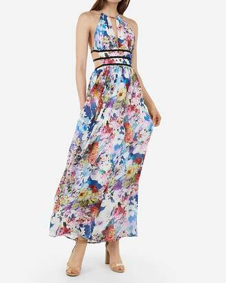 Express Floral Strappy Side Plunge Cut-Out Maxi Dress
