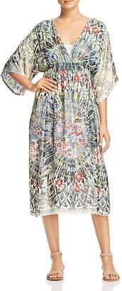 Johnny Was Collection Fran Printed Silk Midi Dress