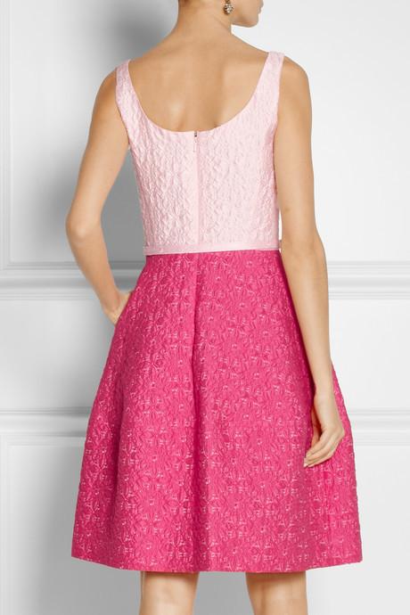 Oscar de la Renta Two-tone cotton-blend brocade dress