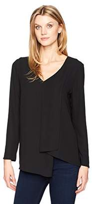 Karen Kane Women's Long Sleeve Draped Angle Top