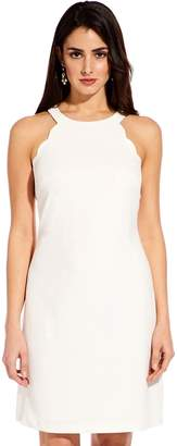 Adrianna Papell Ivory Scalloped Halter A-Line Dress