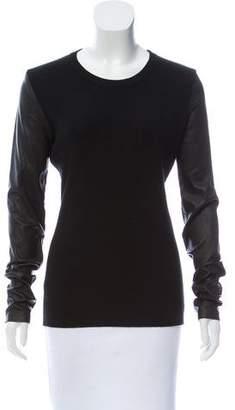 Barbara Bui Leather-Paneled Wool Sweater