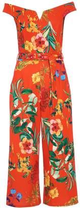 Quiz Orange Floral Bardot Culotte Jumpsuit