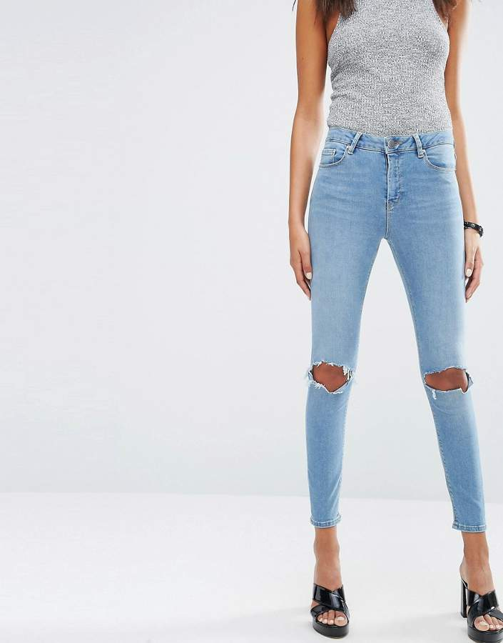 Asos RIDLEY Skinny Jeans In Hiro Wash With Rips