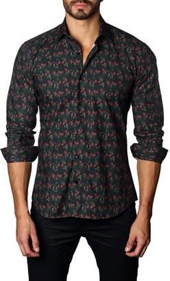 Jared Lang Floral Print Trim Fit Shirt
