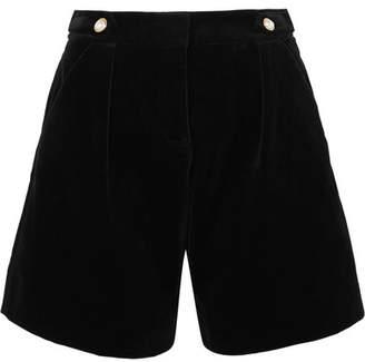 Mother of Pearl Faux Pearl-embellished Velvet Shorts - Black