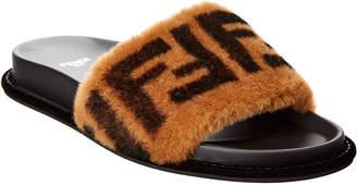 Fendi Ff Leather & Fur Slide Sandal