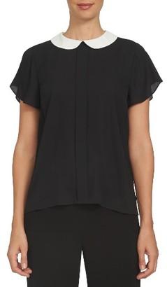 Women's Cece Contrast Collar Crepe Blouse $69 thestylecure.com