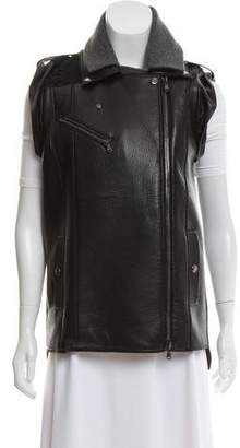 Veronica Beard Leather Moto Vest