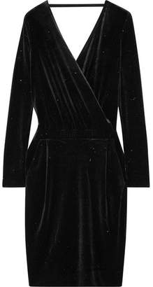 By Malene Birger Jannina Wrap-effect Metallic Stretch-velvet Dress - Black