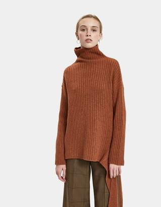 Mijeong Park Ribbed Pullover With Side Tie in Rust