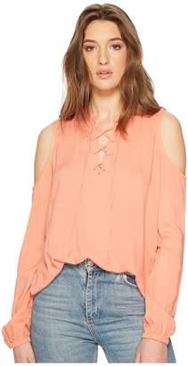 BB Dakota Rossi Slub Gauze Tie Front Cold Shoulder Top Women's Clothing