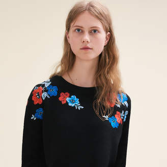 Maje Fine knit jumper with embroidery