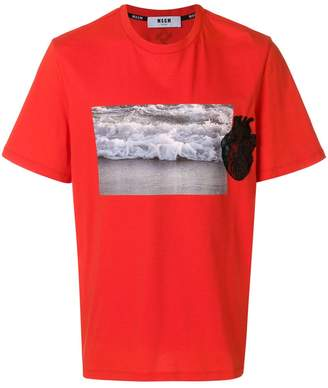 MSGM graphic heart applique T-shirt