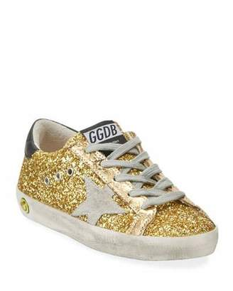Golden Goose Superstar Glitter Fabric Low-Top Sneakers, Baby/Toddler