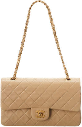Chanel Beige Quilted Lambskin Leather Medium Flap Bag