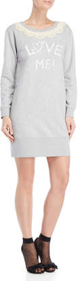 Love Moschino Scalloped Lace Collar Graphic Sweatshirt Dress