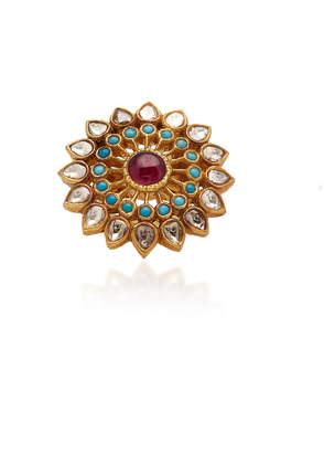 "Amrapali 18K Gold"" Diamond"" Ruby"" And Turquoise Ring"
