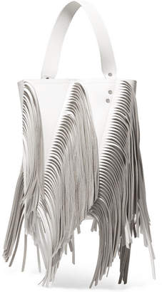 Proenza Schouler Hex Medium Fringed Paneled Leather Tote - White