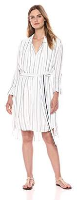 Halston Women's Long Sleeve Shirtdress with Smocked Cuffs