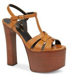 Saint Laurent Betty Leather Platform Sandals $995 thestylecure.com