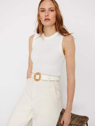 Warehouse Raffia Buckle Belt - White