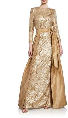 Rickie Freeman For Teri Jon Long-Sleeve Sequin Gown w/ Taffeta Overlay