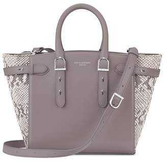 Aspinal of London Midi Marylebone Tech Tote In Smooth Chanterelle Natural Python