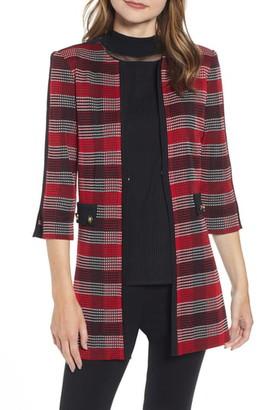 Ming Wang Long Plaid Knit Jacket