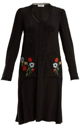Sonia Rykiel Floral Embroidered Lace Trimmed Silk Dress - Womens - Black Multi