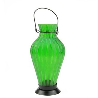 """Northlight 9.5"""" Frosted Green Ribbed Vase Glass Bottle Tea Light Candle Lantern Decoration"""