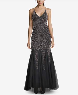 Xscape Evenings Beaded Tulle-Skirt Gown
