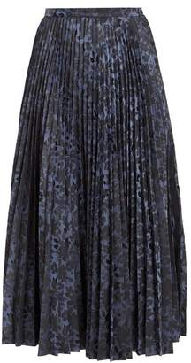 Erdem Nesrine Pleated Floral Jacquard Midi Skirt - Womens - Dark Blue
