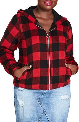 City Chic Buffalo Plaid Jacket