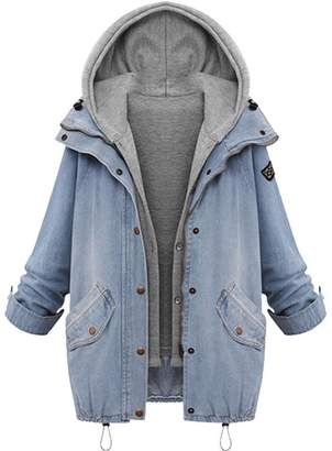 Tootu pant Clearance!Tootu Women Plus Size Warm Collar Hooded Coat Denim Trench Parka Outwear (M, )
