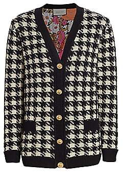 Gucci Women's Oversized Houndstooth Cashmere & Silk V-Neck Cardigan