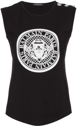 Balmain sleeveless logo print top