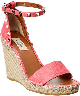 Valentino Rockstud Double Leather Espadrille Wedge Sandal