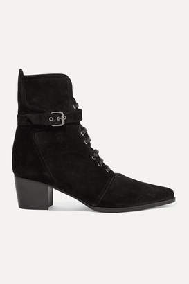 Tabitha Simmons Porter Buckled Suede Ankle Boots - Black