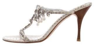 Beverly Feldman Leather Embellished Mules