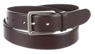 Prada Silver-Tone Buckle Leather Belt