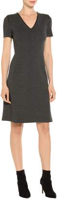 St. John Milano Knit V-Neck Short Sleeve Dress