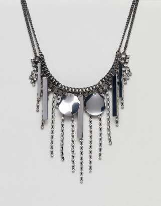 Asos Design Statement Jewel and Metal Shape Necklace