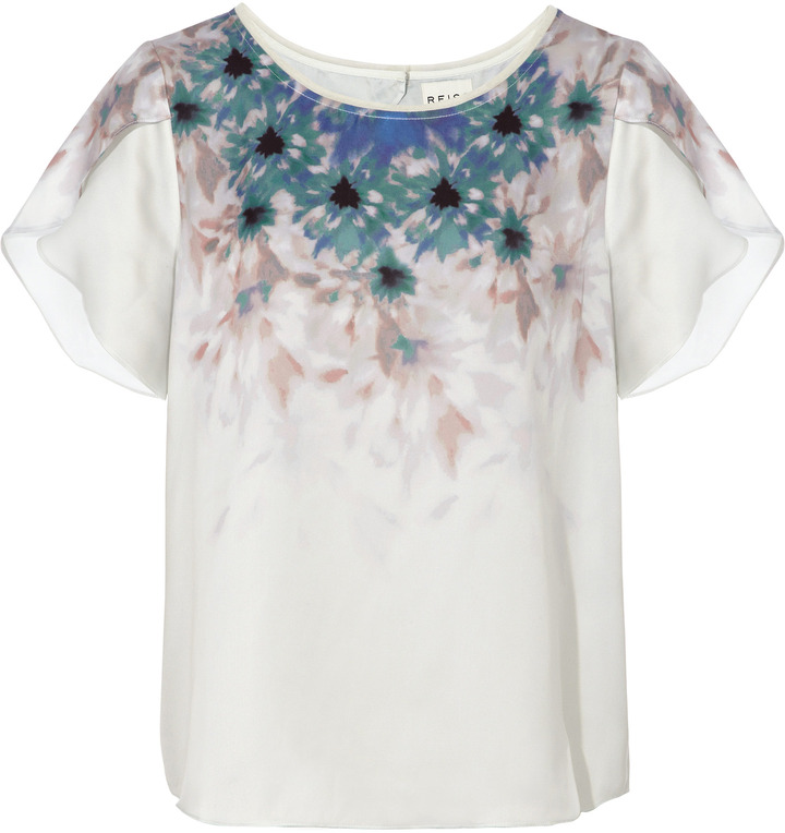Cindy FOLDED SLEEVE PLACEMENT PRINT TOP