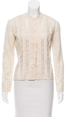 Valentino Lace-Accented Button-Up Top